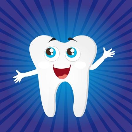 mal di denti: cartone animato dente su sfondo blu. illustrazione vettoriale