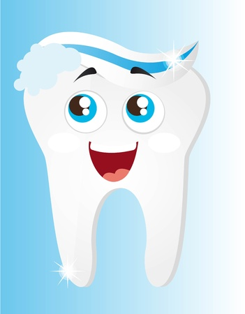 cleaning teeth: tooth with toothpaste and foam cartoon vector illustration Illustration