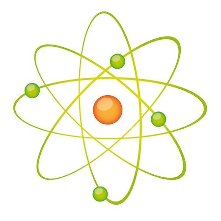 átomo verde aislado sobre fondo blanco. ilustración vectorial Ilustración de vector