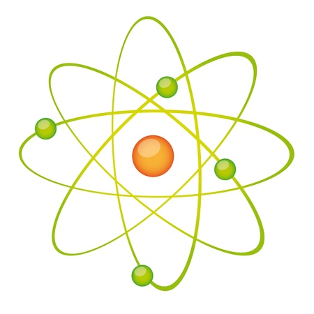 atoms: green atom isolated over white background. vector illustration