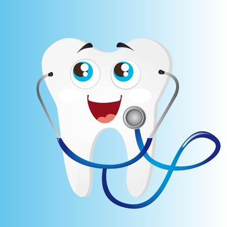 diente con el estetoscopio azul sobre fondo azul. vector