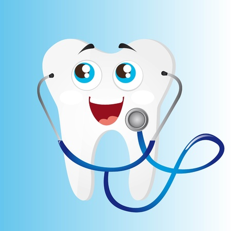 dental health: tooth with blue stethoscope over blue background. vector