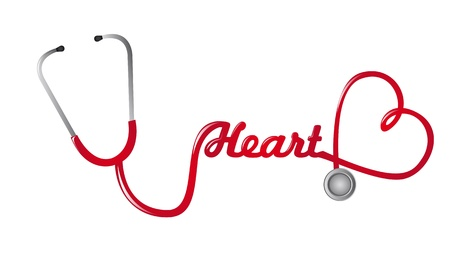 red stethoscope with heart shape vector background
