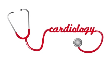 listening to heartbeat: red stethoscope cardiology text isolated vector illustration Illustration