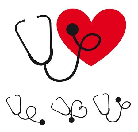 czarny stetoskop sylwetka z ilustracji wektorowych serca
