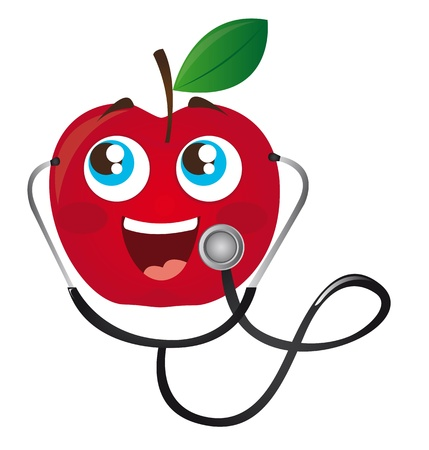 cardiac care: red apple with stethoscope cartoon isolated vector illustration Illustration