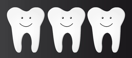 whiten: three cute tooth over black backgrond. vector illustration