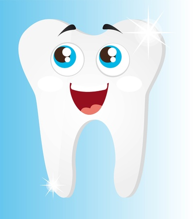 shiny teeth cartoon with eyes over blue background vector illustrartion Stock Vector - 11657393