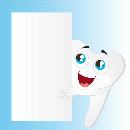 dolor de muelas: diente de la historieta con la ilustraci�n en blanco vector de publicidad Vectores