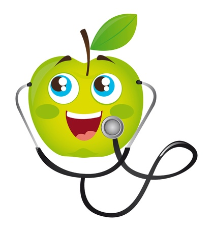 doctor examine: stethoscope with green apple cartoon vector illustration Illustration