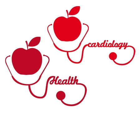 amplify: red apple with stethoscope silhouette vector illustration