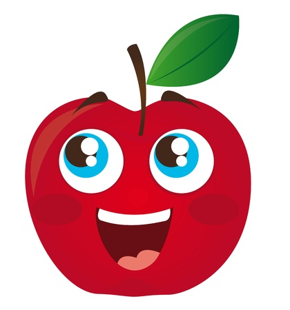 apple cartoon: red apple cartoon isolated over white background. vector