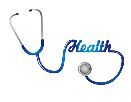 estetoscopio: estetoscopio azul con texto de salud aislado. ilustraci�n vectorial