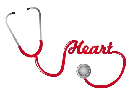 stethascope: red stethoscope with hearth text vector illustration