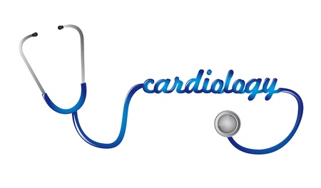 amplify: blue stethoscope with cardiology text vector illustration Illustration