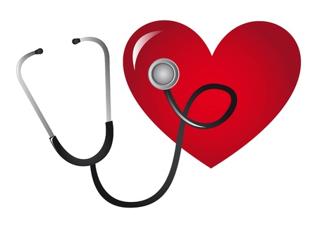 stethoscope and heart isolated over white background. vector illustration Stock Vector - 11657398