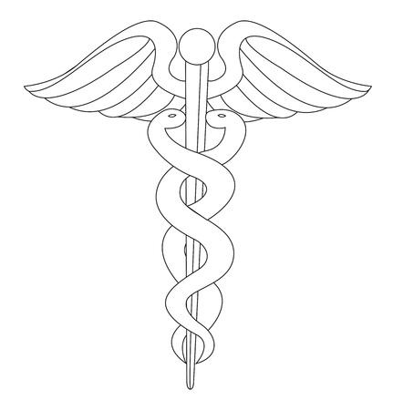 aesculapius: silhouette segno medica su sfondo bianco. vettore Vettoriali