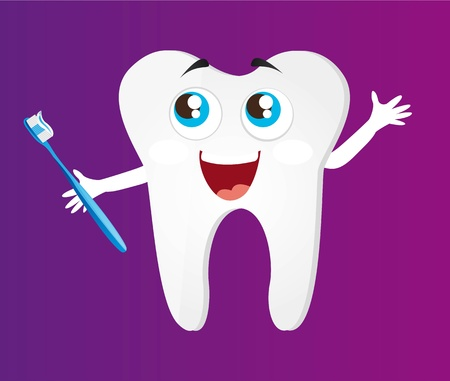 toothache: tooth with toothbrush cartoon over violet background vector illustration