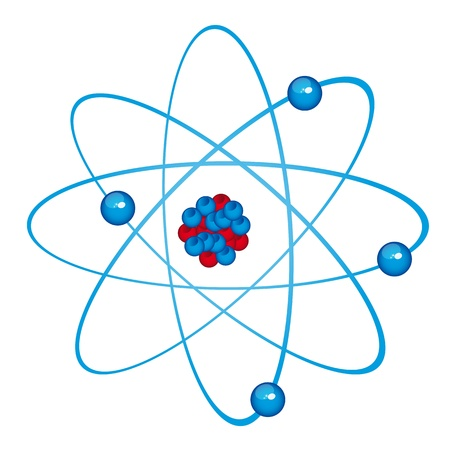 orbiting: blue atom isolated over white background. vector illustration
