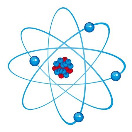 fizika: kék atom elszigetelt fölött fehér háttér. vektoros illusztráció Illusztráció