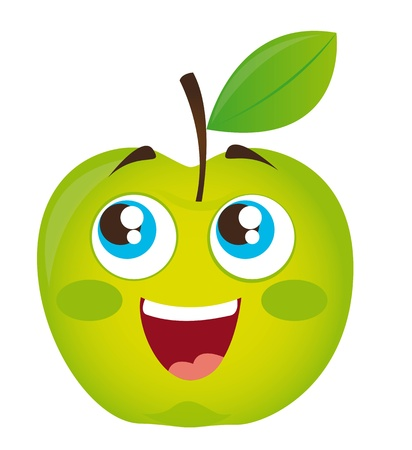 green apple cartoon isolated over white background. vector Vector