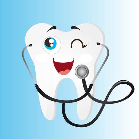 dentista: diente con el estetoscopio sobre fondo azul. vector Vectores