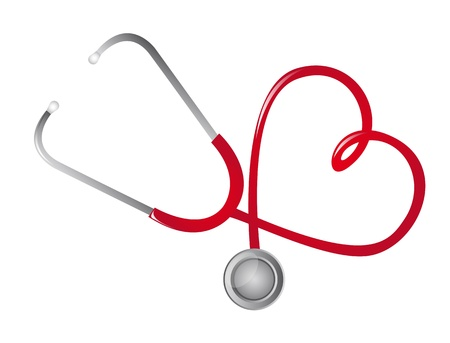 listening to heartbeat: red stethoscope heart-shaped isolated. vector illustration
