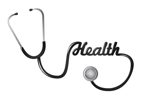 stethascope: black stethoscope isolated over white background. vector