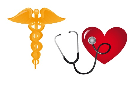 stethascope: medical sign with stethoscope and heart vector illustration  Illustration