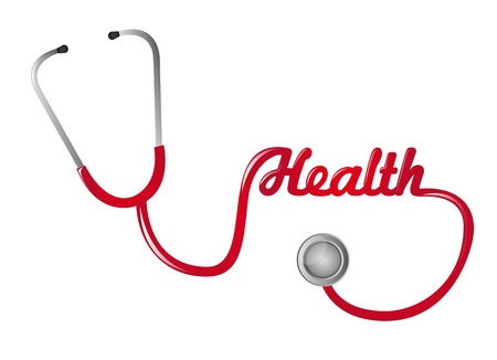 cardiac care: red stethoscope with healt text isolated vector illustration Illustration