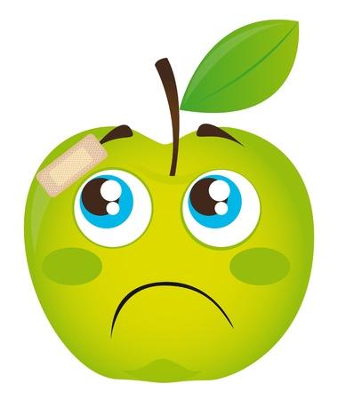 line drawings: green sad apple with adhesive bandage isolated illustration