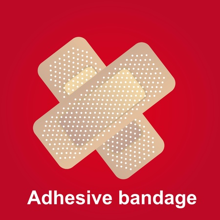 band aid: adhesive bandage in cross-shaped over red background