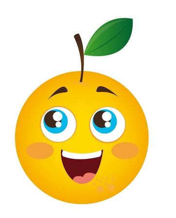 frutas divertidas: de dibujos animados de color naranja aislada sobre fondo blanco.