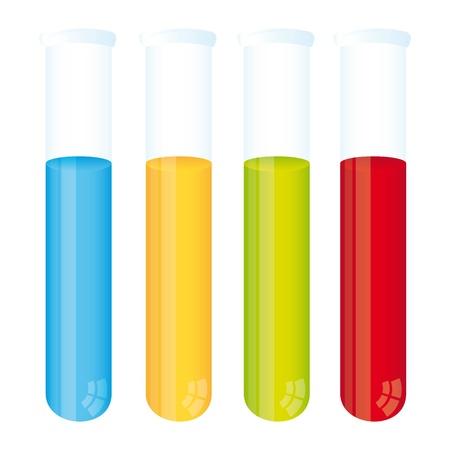 kleurrijke reageerbuis geà ¯ soleerd op witte achtergrond