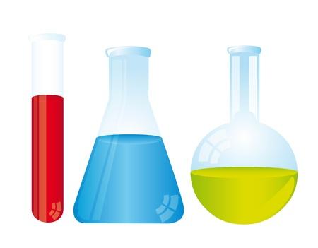 hip�tesis: tubos de colores de prueba m�s de ilustraci�n de fondo blanco