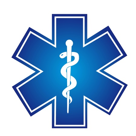 caduceo: cartel azul con la ilustración médica aislado serpiente