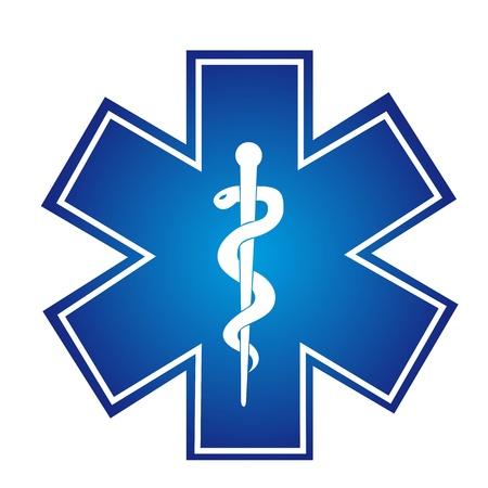 aesculapius: cartello blu medica con serpenti illustrazione isolato