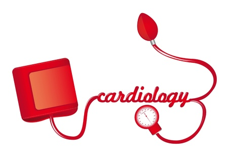 sphygmonanometer: red sphygmomanometer with cardiology text illustration