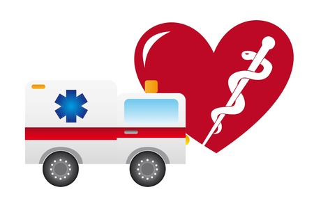 ambulance and heart isolated over white background.  Vector