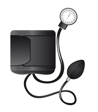 blood pressure monitor: black sphygmomanometer isolated over white background illustration