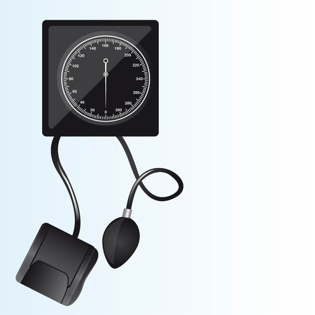 black sphygmomanometer machine over white background illustration Vector
