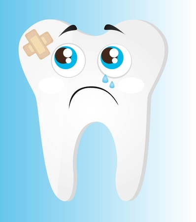 sad tooth with adhesive bandage over blue background.