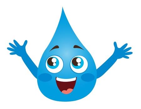 gotas de agua: el agua ca�da de dibujos animados con los ojos y la boca de ilustraci�n