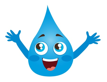 water drop cartoon with eyes and mouth illustration Vector