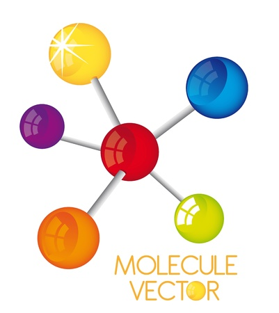 molecules: colorful molecule isolated over white background  Illustration