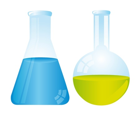 color theory: two test tubes isolated over white background