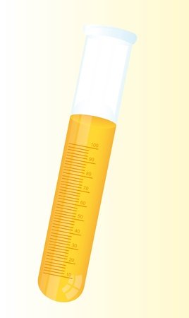 test tube with yellow liquid over beige background Stock Vector - 11886153