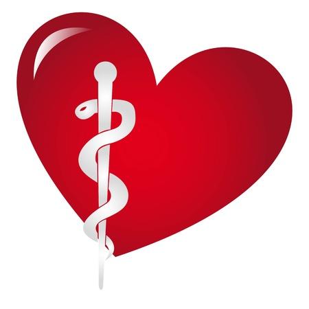 aesculapius: segno medica sul cuore rosso isolato su sfondo bianco Vettoriali