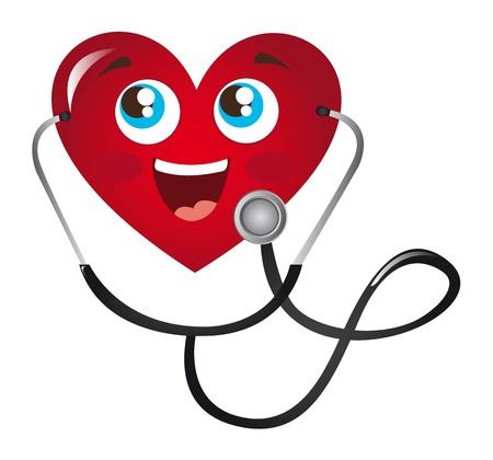 hospital cartoon: cuore con lo stetoscopio cartone animato con occhi e bocca Vettoriali