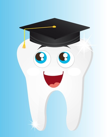 happy tooth graduate cartoon with eyes illustration Vector